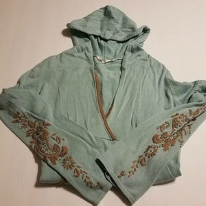 Athleta Wrap Sweater Hoodie with Embroidery